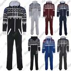 New Womens Hooded Aztec Print Fleece All In One Unisex Jumpsuit Playsuit