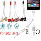 2in1 Lightning to Dual Headphone Adapter Charge Cable For iPhone 7/7+/8/8+ iOS11