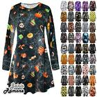 New Womens Halloween Pumpkin Moon Bat Web Print Flared Mini Swing Dress Leggings