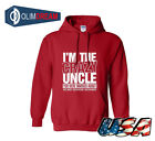 Mens I'm The Crazy Uncle Long Sleeve Solid Color Custom Logo Slogan Hoodie