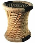 Natural Geo Moray Decorative Accent Stool Cushioned with Jute