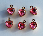 VINTAGE 6 GLASS HEART PENDANT BEADS • 8mm • HEARTS • RUBY, PINK, BLACK DIAMOND
