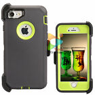 For Apple iPhone 7 / 7+ Plus Defender Case With Clip Screen Protector Grey Green