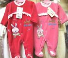 Baby Sleepsuit/Babygro Cotton Rich Velour with embroidered Motif Age 0-3m Girls