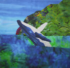 NEW Humpback Whale Mountains Polihale Beach Hawaii~ Fabric Quilt Square Panel