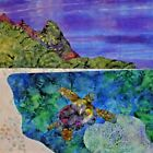 NEW Bali Hai Beach Sea Turtle Ocean Reef Purple Sunset~Fabric Quilt Square Panel