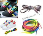 'Rainbow Shoe Laces Flat Boot Laces Funky Football Skate Trainer Funky Laces B3