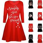 Ladies Long Sleeve Xmas Christmas Novelty Print Skater Swing Dress Flared Mini