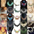 Hot Women Crystal Pendant Chain Choker Chunky Statement Bib Necklace Jewelry