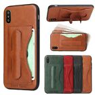 For Apple iPhone X (10) Luxury Leather Kickstand ID Card Holder Back Case Cover