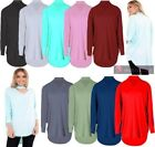 NEW LADIES LONG SLEEVE BATWING CHOKER NECK BAGGY TOP BLOUSE UK 8-26