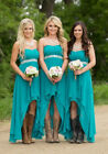 Country Bridesmaid Dresses High Low Chiffon Formal Gowns Maid Of Honor W2199