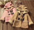 Toddler Kids Baby Girl Winter Warm Lambs wool Hooded Faux suede Outwear