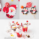 50x Santa Claus Penguin Lollipop Christmas Paper Card lolly sugar-loaf Party Toy