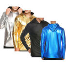 Fashion Men's Slim Fit Long Sleeve Metallic Shiny Muscle Tee T-shirt Hoodie Tops