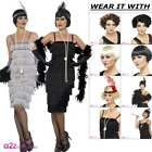 Ladies Flapper Long Black Silver 1920s Costume Great Gatsby Adult Fancy Dress