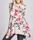 NEW ODDI LIGHT PINK BOUTIQUE TUNIC WITH GORGEOUS FLORAL PRINT S M OR L