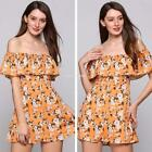 Off The Shoulder Sleeveless Flower Print  A-Line Mini Ruffles Casual EN24H