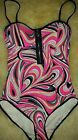 *NWT* JUICY COUTURE 1PC UNDERWIRE MAILLOT FRONT ZIP SWIMSUIT SHELL SHOCK XS,S,XL