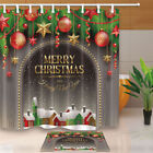 Christmas Arched Door With Spruce Ball Bathroom Fabric Shower Curtain Set 71inch
