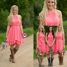 Coral Bridesmaid Dresses Jewel Neck Chiffon Maid Of The Honor Party Gowns W2198