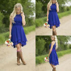 Royal Blue Country Bridesmaid Dresses Short Hi-low Halter Chiffon Party WE056