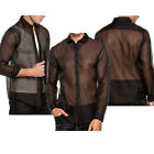 Men's Muscle Long Sleeve See Through Mesh T Shirt Top Tee Party Clubbing Night