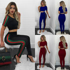 USA Stock 2PCS Women Crop Tops+ Pants Bodycon Casual Outfit Sportswear Tracksuit