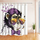 Watercolor Monkey Wearing Glasses Bathroom Decor Fabric Shower Curtain Set 71In