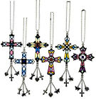 Stained Glass Style Hanging Cross NEW Rear View Mirror Car Charm YOU CHOOSE