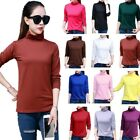 Womens Long Sleeve Soft Stretch Turtleneck Basic Top Blouse Solid Slim Fit Shirt