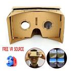 Cardboard 3D VR Simple Google Headset Glasses Free VR Movies For iPhone 4 5 6 DI