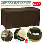 KETER Outdoor Storage Box Lockable Garden Bench Seat Brown Plastic Rattan Wicker