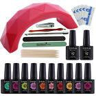 Pick Any Color Gel Nail Polish Starter Set 9W LED Red Nail Dryer Base Top Coat