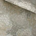 Внешний вид - Paper Wallpaper rolls wall coverings vintage damask olive green beige textured