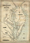 1862 Coast Survey Map Chart Chesapeake Delaware Bay Art Poster Print Wall Decor