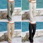 Women Ladies Linen Trousers Pants Casual Leisure Holiday Beach Chino Khaki Cargo