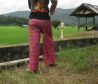 Thai Batik Fishermans Pants Beautiful Pattern Comfortable Purple Violet Freesize