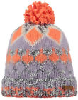 Barts Beanie Pom-Pom Knitted Hat Orange Emerald Coarse Knit Fleece