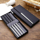 5 Pairs Black Head Non-slip 304 Stainless Steel Korean Chopsticks Tableware