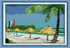Joy Sunday Counted Cross Stitch Kit - Beach Scenery 15x11 In 14/11CT Embroidery