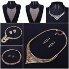 Fashion Women Crystal Bib Statement Necklace Earrings Wedding Party Jewelry Set