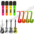 INFLATABLE MUSICAL INSTRUMENT GUITAR SAXOPHONE MICROPHONE PARTY FANCY DRESS LOT