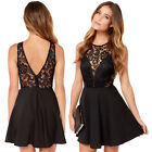 Women A-Line Casual Backless Prom Evening Party Cocktail Lace Short Mini Dress
