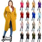 New Womens Italian Drape French Belted Waterfall Long Duster Coat Trench Jacket