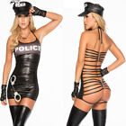 leather cop costume - Womens Sexy Lingerie Black Police Dress Cop Uniform PVC Leather Cosplay Costume
