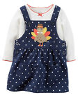 NWT Carter's Thanksgiving Turkey Jumper Bodysuit Outfit Set 2PC Baby Girl