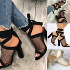 Women Suede High Heels Ankle Strap Gladiator Sandals Clear Back Sexy Shoes New