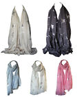 Foil Printed Soft Cotton Bird & Butterfly Print Scarves Shawl Wrap Stole Scarf