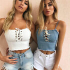 Women Sexy Bandage Front Cropped Adjustable Spaghetti Strap Tank Top White Blue